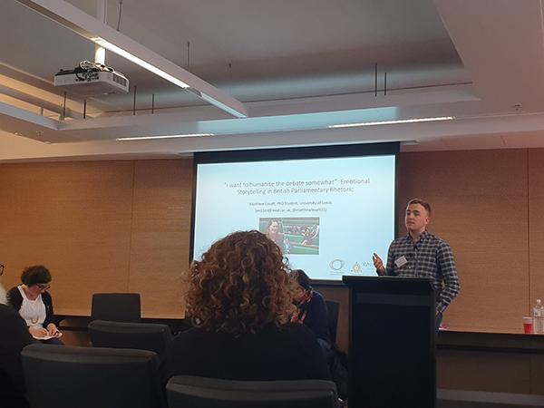 Photo of Matthew Lovatt (University of Leeds) presenting his paper on 'Emotional Storytelling in British Parliamentary Rhetoric'