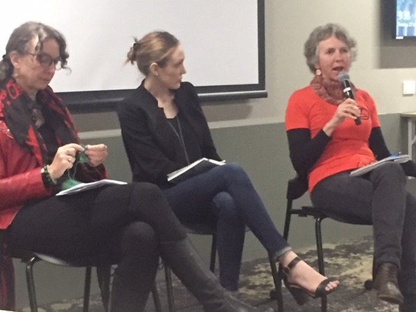 Photo of Alison Phipps, Michelle Peterie and Deb King speaking in a panel about 'Political Emotions in Practice'.
