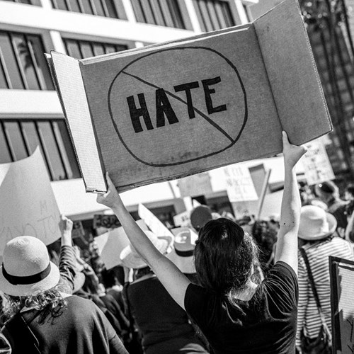 Photo of a woman carrying a sign that says 'No Hate' at a protest in Los Angeles, California 2017.