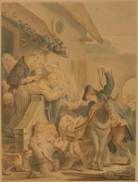 Jean-Baptiste Greuze (and Jean-Baptiste Blaise Simonet), Le Depart de la Nourrice (1780),