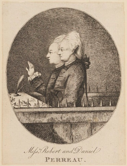 Image of etching showing Robert and Daniel Perreau, on trial for forgery in 1775