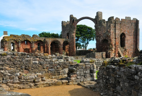 The ruins of Lindifarne Priory
