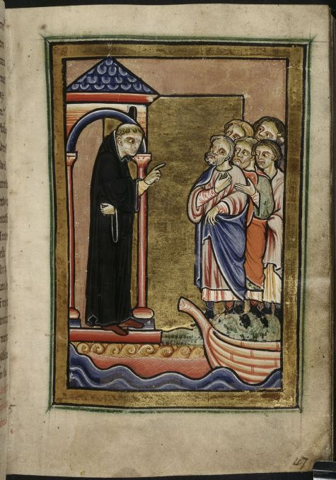 Manuscript image of St Cuthbert addressing a crowd from his hermitage