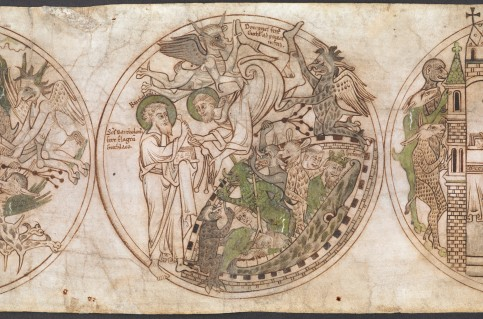 Manuscript image of St Guthlac as he is carried to the gates of hell by demons.