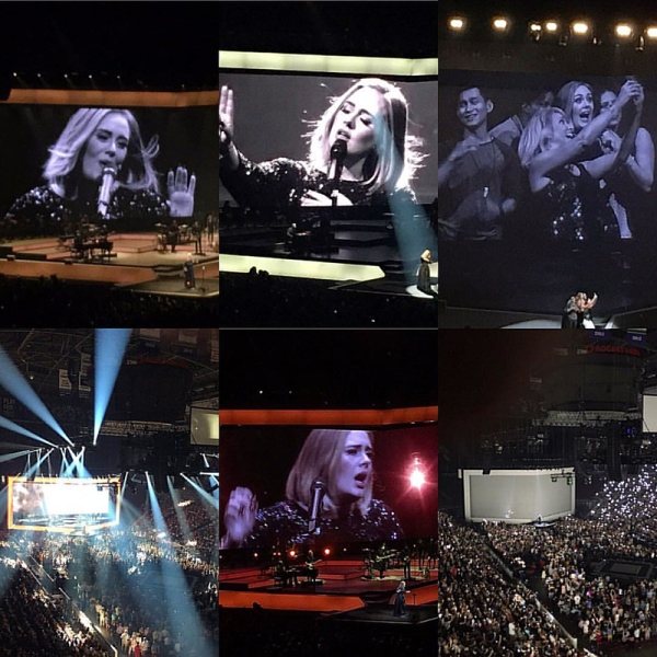 Collage of photos from Adele concert